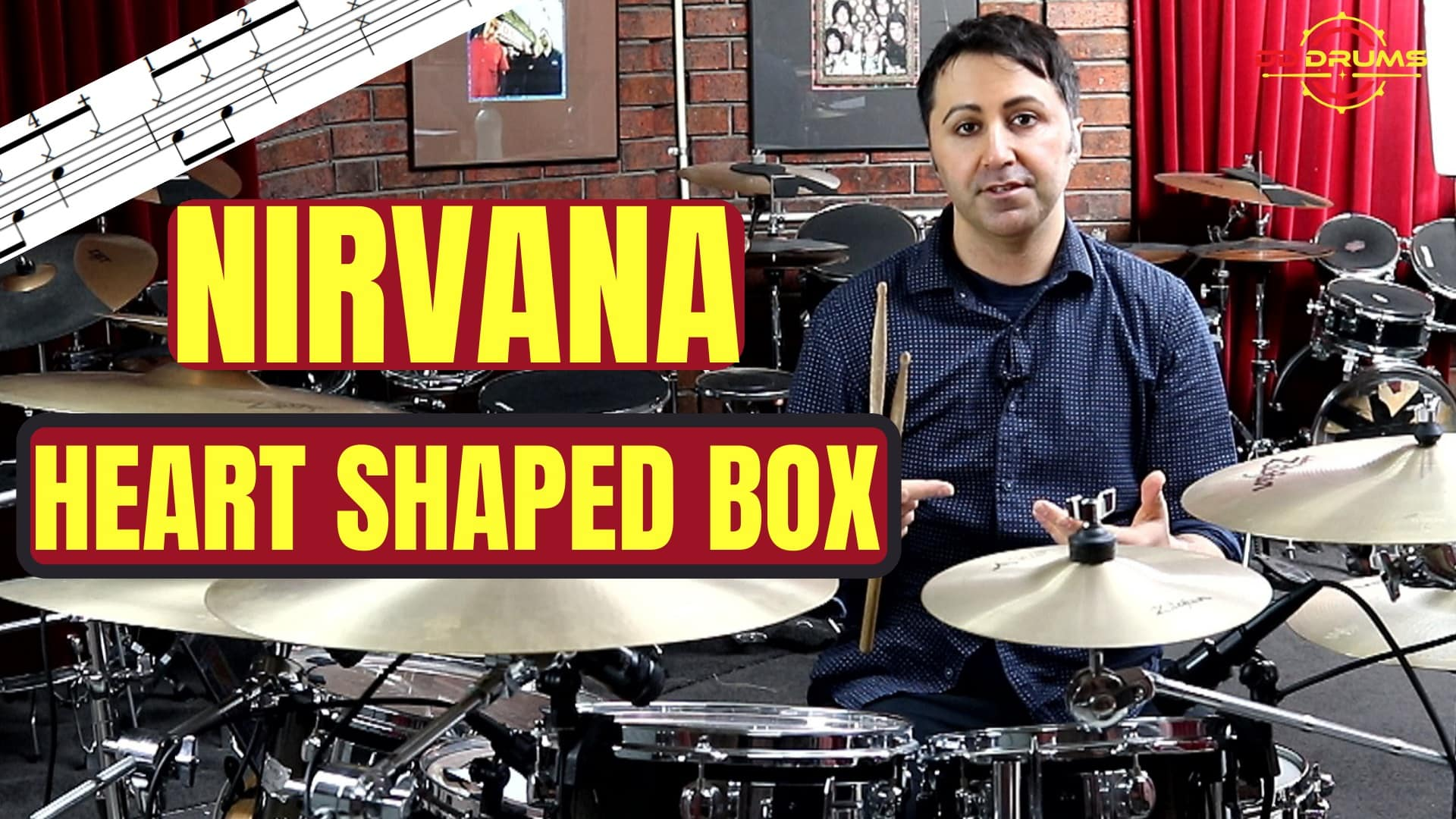 How to play 'Heart Shaped Box' by Nirvana on Drums – Drum Lesson
